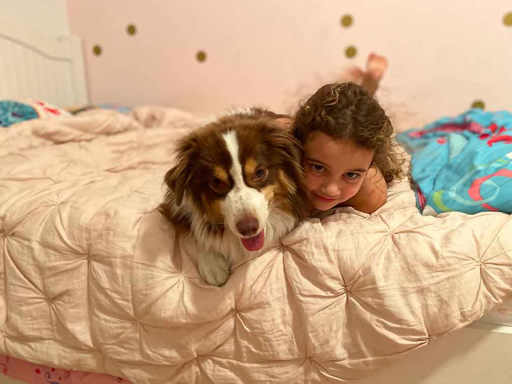 Girl and dog snuggles at Dog Boarding